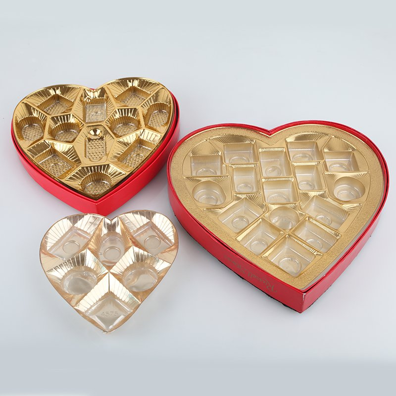 Plastic chocolate trays with heart shape